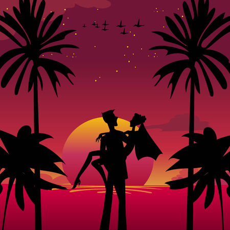 Vector illustration of  bride and bridegroom in  romantic tropical night on the sky background with Giant beautiful full moon Vector