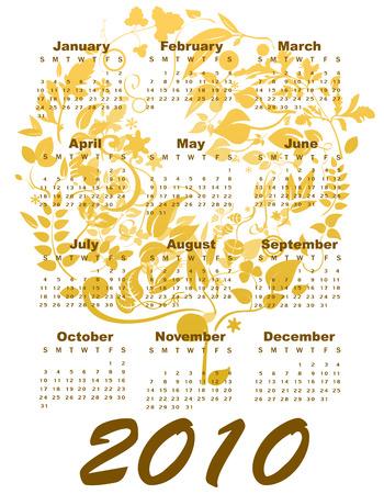 Vector Illustration of stylish design Calendar for 2010 Stock Vector - 5992873