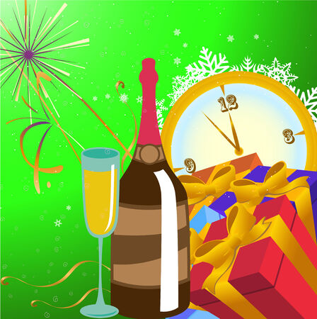 Vector illustration of Colorful new year party background. Design element for new-year congratulations. Stock Vector - 6003553
