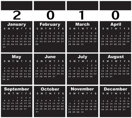 Vector Illustration of style design black and white Calendar for 2010 Stock Vector - 6073483