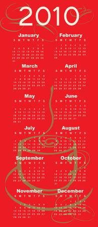 Vector Illustration of coffee style design Calendar for 2010 Vector