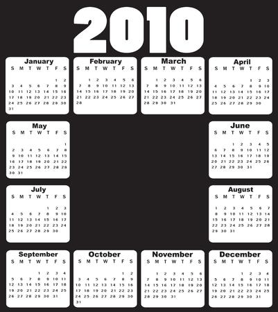 almanak: Vector illustratie van stijl ontwerpen zwart-wit kalender voor 2010