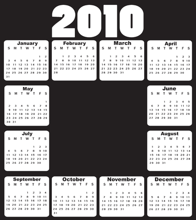 Vector Illustration of style design black and white Calendar for 2010 Vector