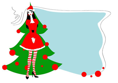 Vector Illustration of funky Christmas gteeeting card with beautiful sexy girl Vector