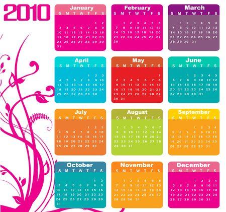 almanac: Illustration of style design Colorful Calendar for 2010