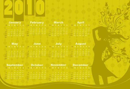 Illustration of style design Calendar for 2010 With sexy girl illustration