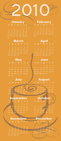 Illustration of coffee style design Calendar for 2010 Vector
