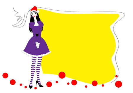 Vector Illustration of funky Christmas background with a beautiful young woman Vector