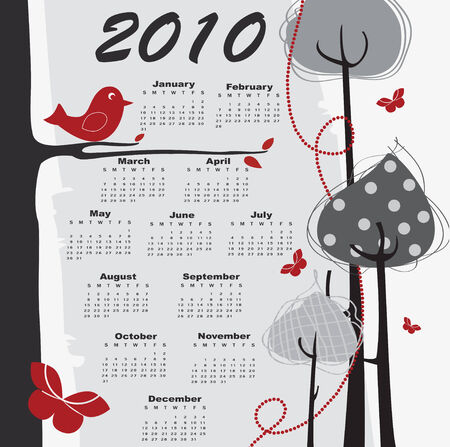 chronology: Vector Illustration of retro style design Calendar for 2010