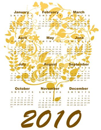 Illustration of stylish design Calendar for 2010 Stock Illustration - 6134782