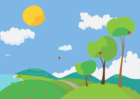 Vector illustration of a landscape with colorful flowers and trees in the summertime. Stock Illustration - 6134760