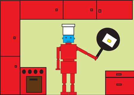 Vector illustration of funky Retro red robot on the kitchen illustration