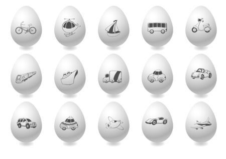 Vector illustration of transportation icons on the grey easter eggs illustration