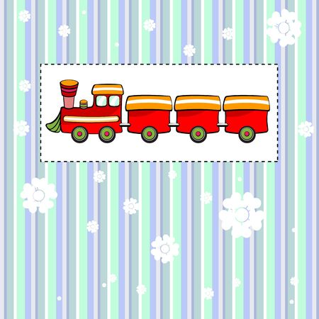 Vector illustration of funky Vintage Gift card with cool red train illustration