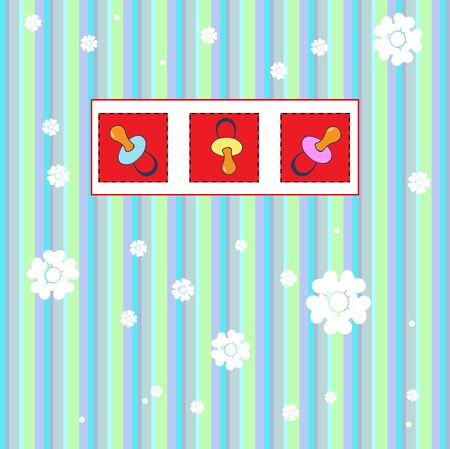 childishness: illustration of funky Vintage Gift card with cool color Baby Stuff Patches Stock Photo