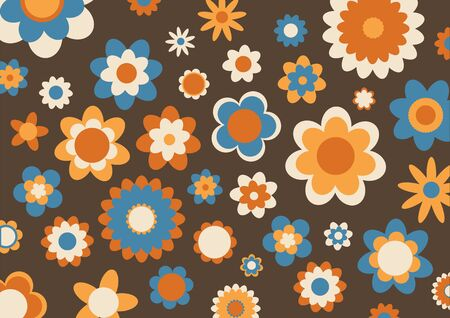 illustration of multicolored funky flowers abstract pattern on brown background Stock Illustration - 6134809