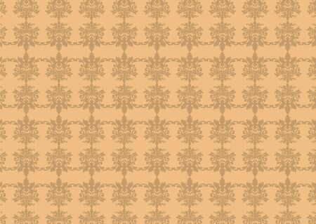 illustraition: illustraition of brown  retro abstract floral Pattern background Stock Photo