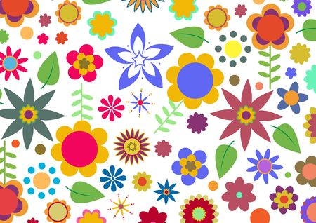 illustration of multicolored funky flowers abstract pattern on white background Stock Illustration - 6134825
