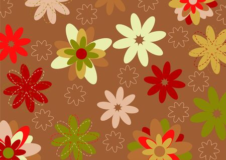 illustration of multicolored funky flowers abstract pattern on brown background Stock Illustration - 6134814