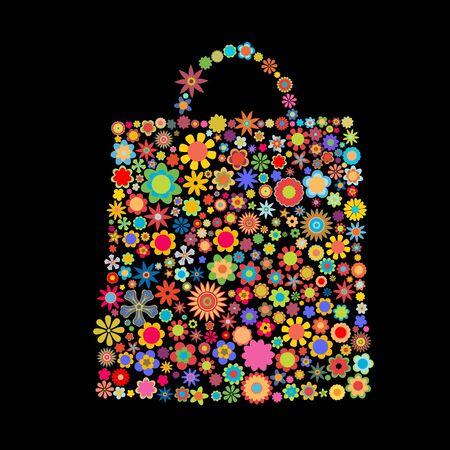 illustration of bag pattern made up of flower shapes  on the black  background Stock Illustration - 6134831