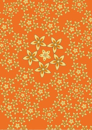 illustration fo funky flowers abstract pattern on the orange background illustration