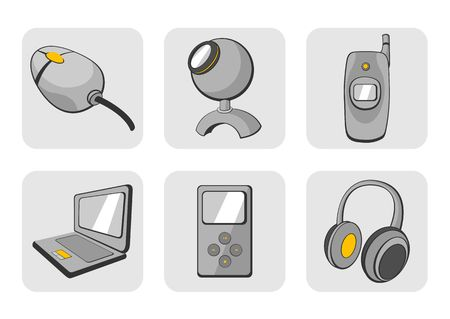 illustration of glossy technological gadgets icons Stock Illustration - 6134800