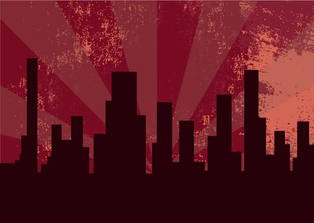 illustration of city at the night on the pink background Stock Illustration - 6158441