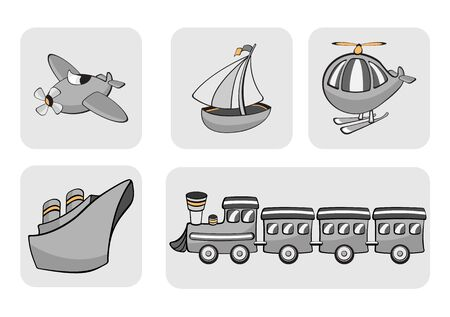 Illustration of transportation icons. Includes airplane, sailboat, helicopter, ship and train. illustration