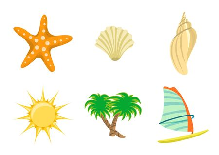 illustration of summer icons. Includes sun, starfish, sea shelld, palm tree and yacht Stock Illustration - 6158428