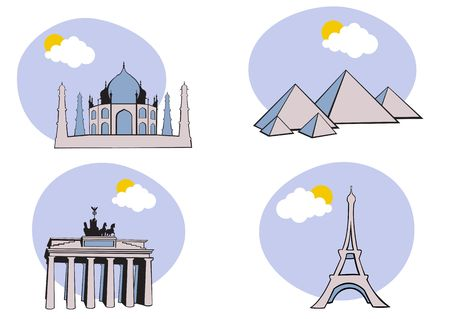 illustration of All Over the World Travel. Includes the icons of Acropolis, The peramid of Kheops, Tag Mahal and Eiffel tower. Stock Illustration - 6158476