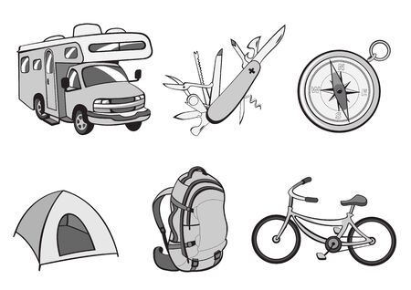 illustration of Outdoor and camping icons. Includes icons of  compass, Travel Trailer, penknife, tent, rucksack and bicycle. illustration