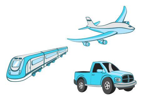 actividades recreativas: Ilustraci�n de Cartoon de transporte. Conjunto de humor coche azul, tren y avi�n. Foto de archivo
