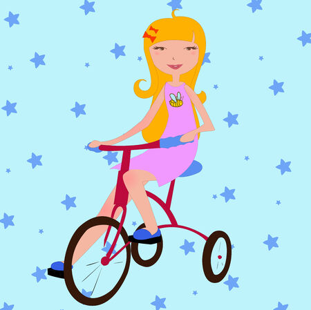 Illustration of funky little girl riding a bicycle Vector