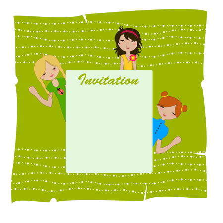 Illustration of cool invitation frame with funky Young girls Vector