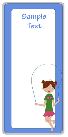 jump rope: Illustration of cool invitation frame with funky Young girl