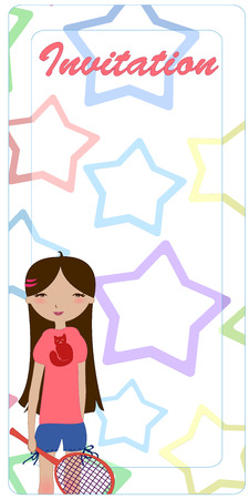 Illustration of the cute invitation, decorated with the little girl playing tennis. Vector