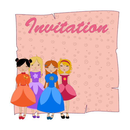 Illustration of beautiful invitation with four little girls. Vector