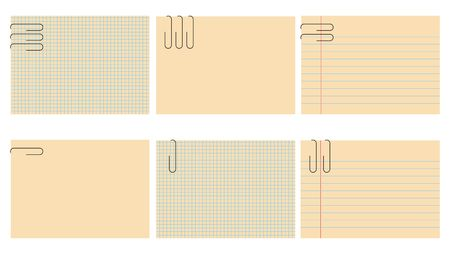 blanked: illustration of retro notepad sheets set. The sheets are blanked, so you can put your own text.