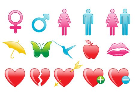 illustration of love symbol icons. Suitable for Valentines day cards. illustration