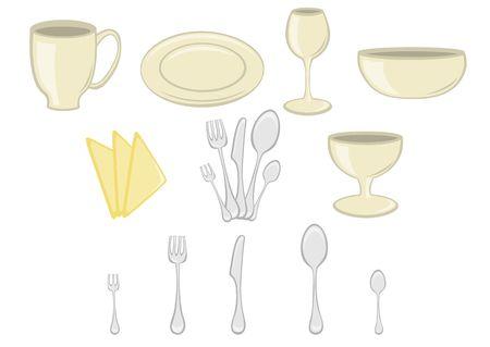 illustration of Dining set. Kitchenware design elements Stock Illustration - 6283774