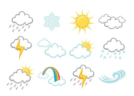 hailstorm: illustration set of elegant Weather Icons for all types of weather