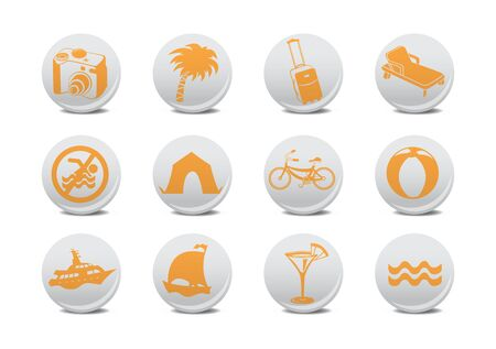 relating: illustration of  icon set or design elements relating to summer tourism Stock Photo
