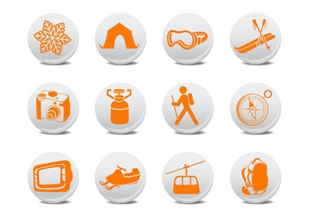 illustration of winter camping/ski buttons .You can use it for your website, application or presentation Stock Illustration - 6283995