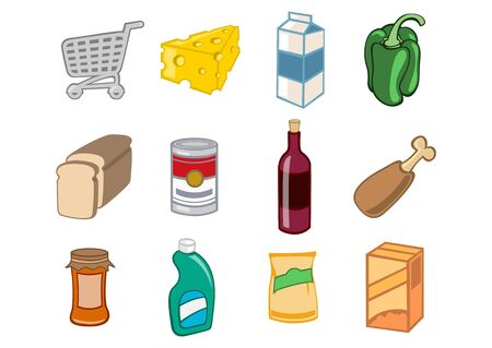 illustration of  icon set or design elements relating to supermarket. Food, drink and other items. Stock Illustration - 6283843