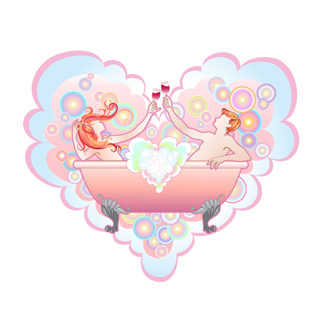 illustration of  heart shape with  Two enamoured in a bathroom  Vector