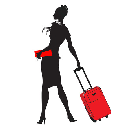 people traveling: illustration of young women silhouette, walking with the red suitcase.