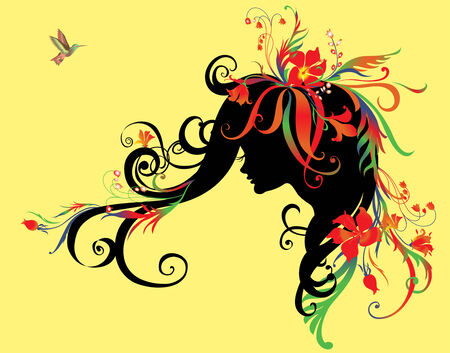 Illuctration of Abstract beautiful girl with flowers in hair Vector