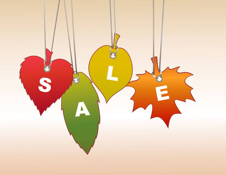 Illuctration of  Colorful  labeltags in leaf shape. You can use it for autumn shopping concept . Vector