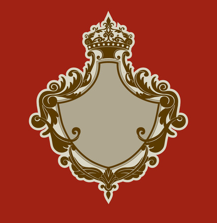 illuctration of Heraldic shield with floral Decorative ornament and crown on the top. Vector