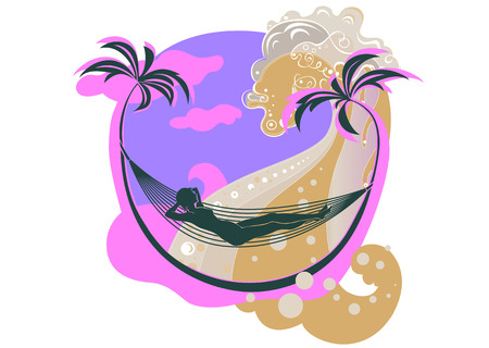 illustration of beautifull young woman on the beach, resting in the hammock. Vector